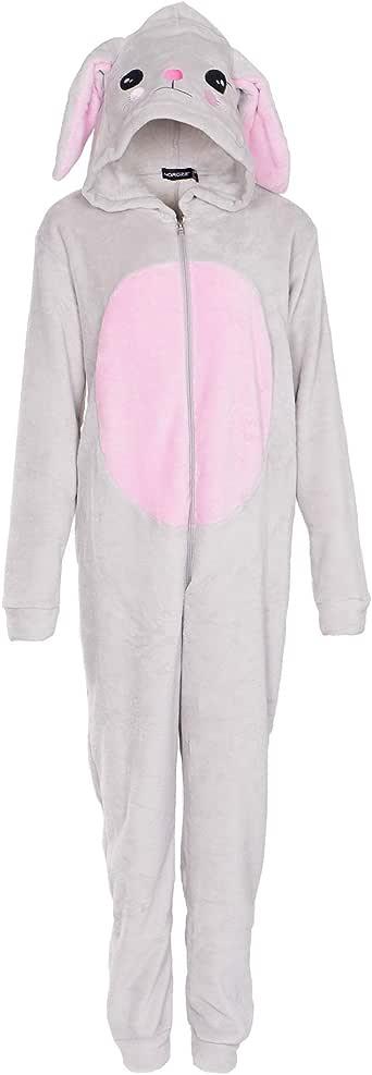 NOROZE Kids Pyjamas Girls Women's Onesie Fleece Rabbit Rainbow Unicorn Hood All in One Mom Daughter Matching Jumpsuit (13 Years, Rabbit Grey)