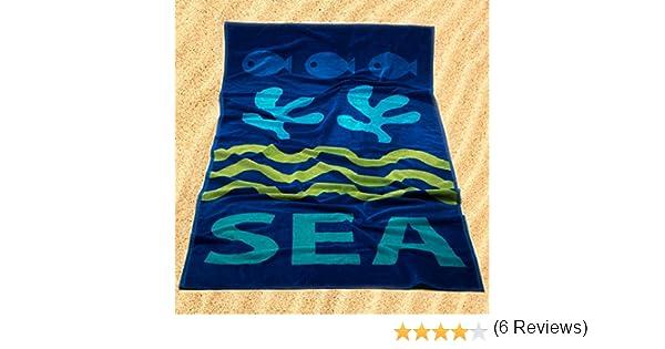 Burrito Blanco Toalla de Playa/Toalla de Piscina 177 Grande para Hombre o Mujer Algodón 100% Tacto de Terciopelo de 95x170 cm con Motivos Marinos, ...
