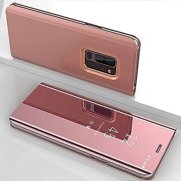 Funda Compatible Samsung Galaxy Note 3.KunyFond Carcasa Espejo Mirror Case Leather Billetera Frontal Trasera 360 Grados Cuero Estructura Wallet ...