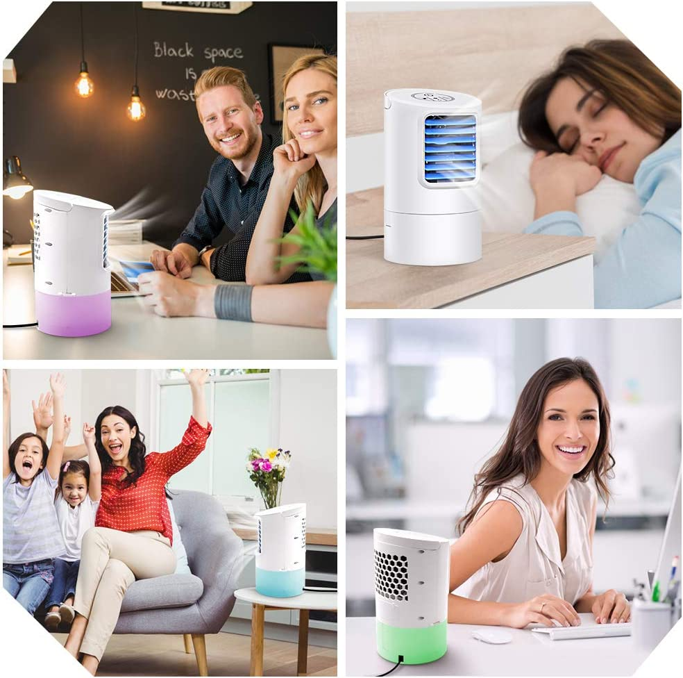 Small Desktop Fan 3 Degree Changeable Angle Adjustable Compact Super Quiet Personal Table Fan Mini Evaporative Air Circulator Cooler Air Conditioner Fan GREATSSLY Air Cooler