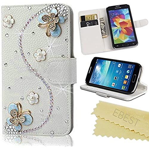 Galaxy S7 Case, Ebest Handmade Bling Crystal Rhinestone Folio Wallet Stand PU Leather Case with cash/card holder Samsung Galaxy S7 Case, blue butterfly Sales
