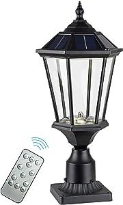 GYDZ Solar Post Lights with 3-Inch Adapter Base, Solar Lamp Post Light Aluminum Housing with Clear Glass, Warm & Cool White Led Solar Pillar Light for Decorative House Entrance/Garden/Backyard, Black
