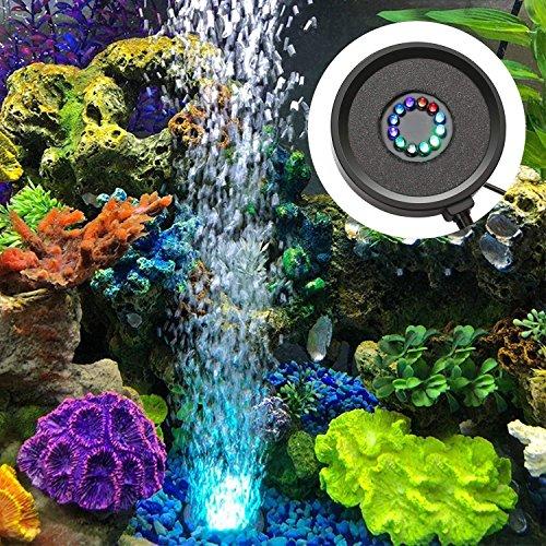 (FTALGS Aquarium Air Stone Disk, 12 Color Change LEDs Light Bubble Diffuser Submersible Disk for Fish Tank)