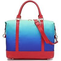 Women Carry-on Tote Bag Weekender Overnight Ladies Rainbow Duffel in Trolley Handle (287 Green Blue)
