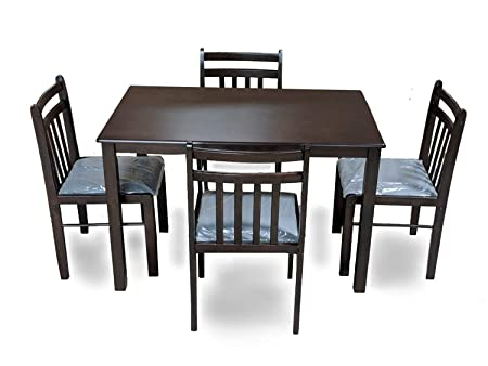 T2A Furniture Qumin 4 Seater Wooden Dining Table Set (Matte Finish, Brown)
