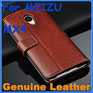 Genuine Leather Case High Quality MEIZU MX4 Leather Case Flip Cover for MEIZU MX 4 Case Business Wallet Style Cover --- Color:Brown