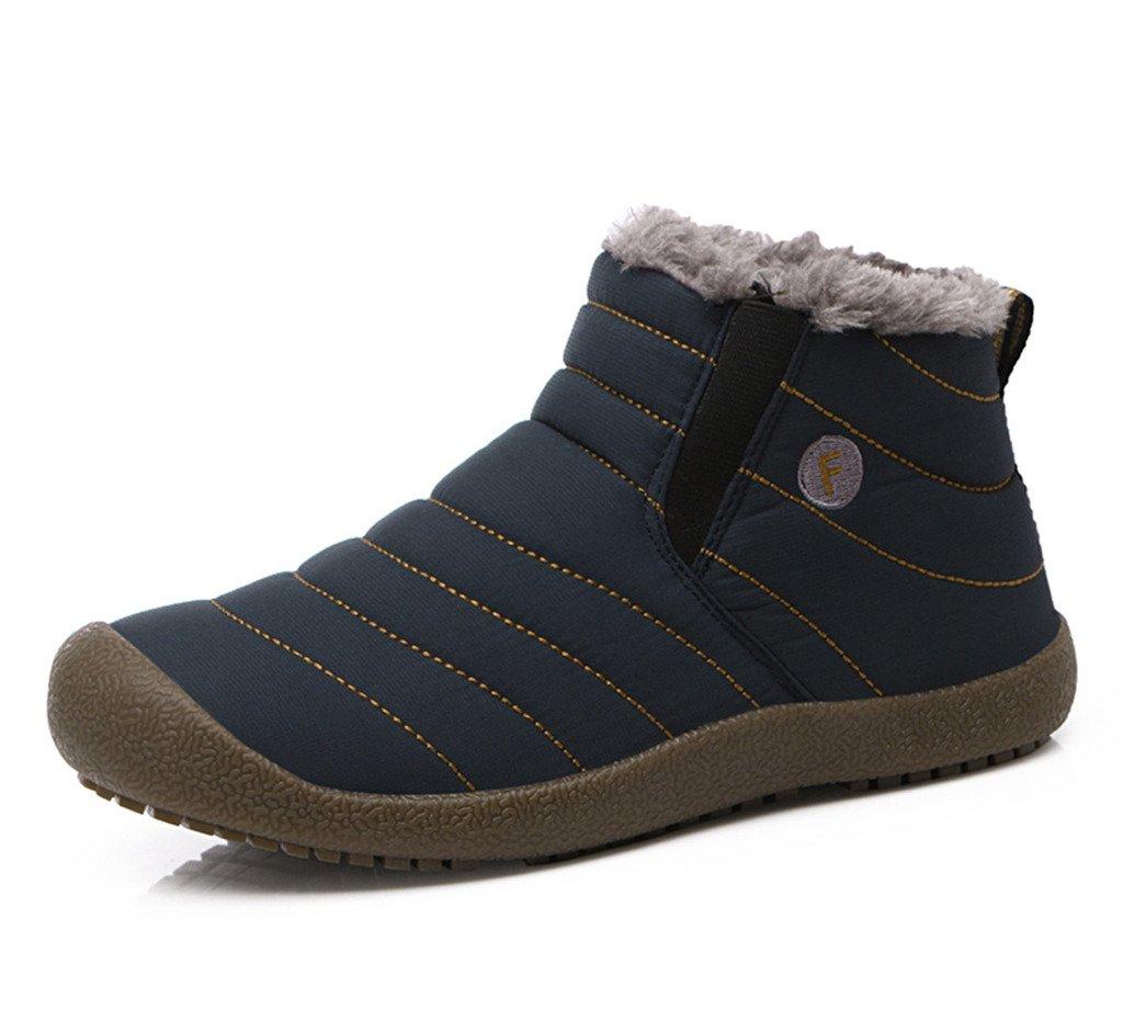 JACKSHIBO Mens Womens Slip On Winter Boots Fur Lined Outdoor Anti-Slip Snow Boots B074L217ZN Men 11(M)B US|Blue-high Top