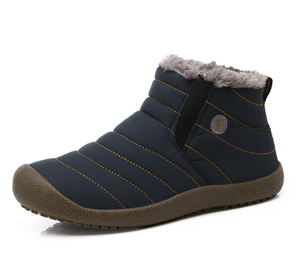 JACKSHIBO Women Men Fully Fur Lined Waterproof Anti-Slip Outdoor Slippers Ankle Boots House Slipper