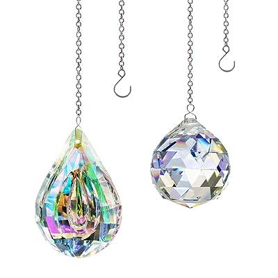 KARSLORA 40mm Crystal Prism Ball Rainbow Maker, 76mm Crystal Pendants Hanging Crystals Window Suncatcher with Chain, Pack of 2 : Garden & Outdoor