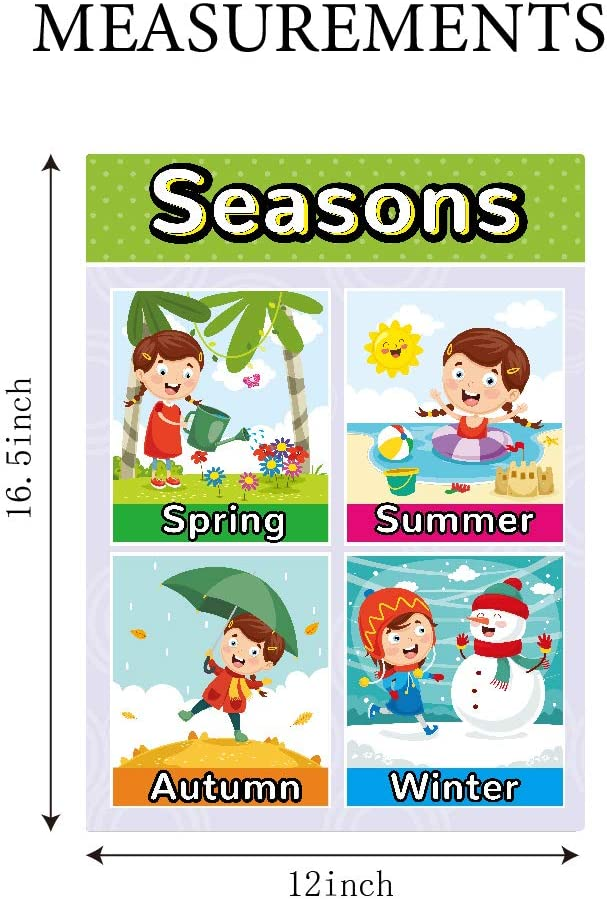 Educational Posters for Preschool Kids with Got Glue for Kindergarten Toddlers Daycare Classroom seasons Colors 4 Pieces Wall Decorations for Elementary Children Learning,Includes numbers1-10