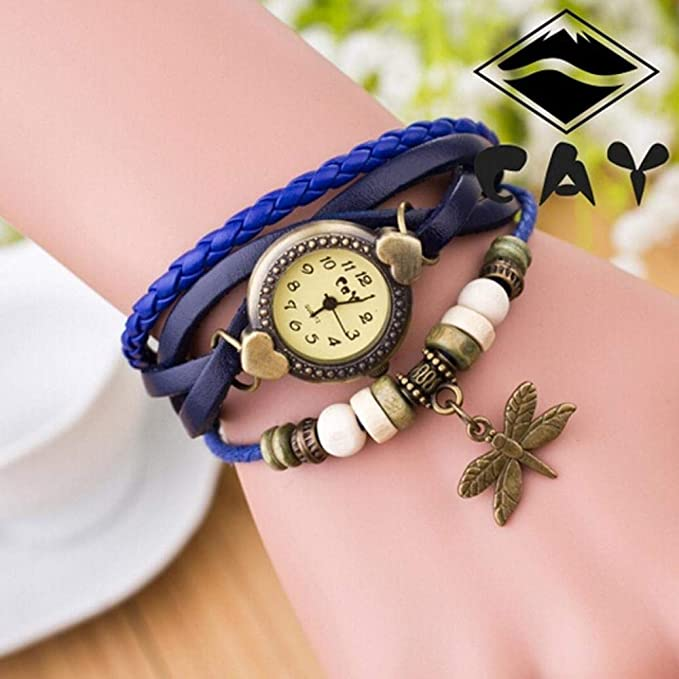 Amazon.com: Clearance Sale! Bracelet Watches for Girls, Iuhan Antique Dragonfly Woman Bracelet Hand Ring Wrist Watch Leather Layered Bracelet Watches ...