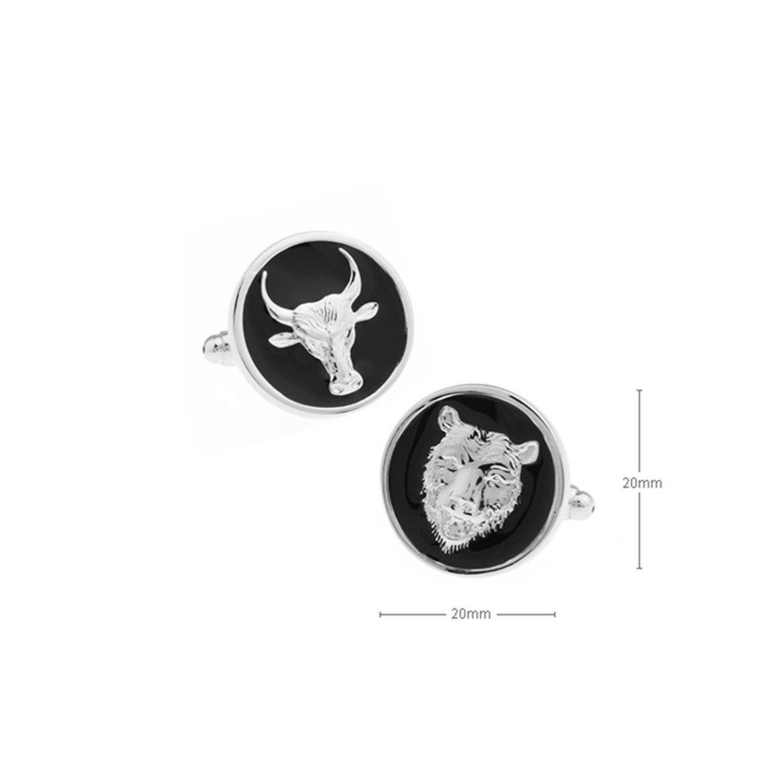Boutons de manchette motifs taureau et ours en /émail noir forme ronde plaqu/é rhodium