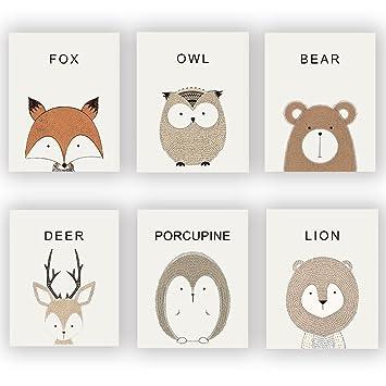 Amazon.de: HOME_PLAY Kinderzimmer Tiere Prints Set von 6 (25, 4 x 20 ...