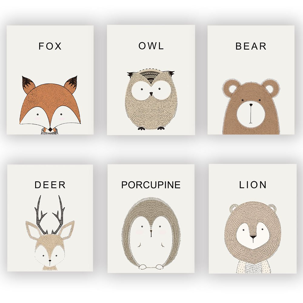 "HOME_PLAY Nursery Animals Prints Set Of 6 (10""X8""Baby Safari Prints Woodland Animals Canvas Art Print Poster Kids Room Wall Pictures For Living Room Home Decor, No Frame"