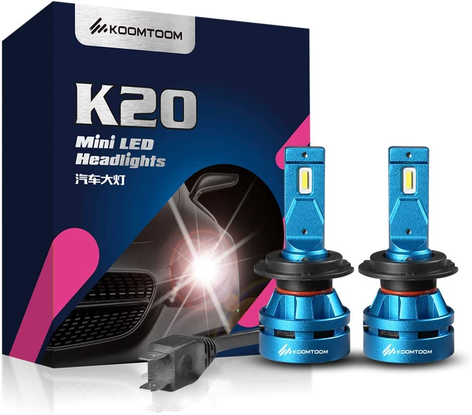 KOOMTOOM H7 Led Headlight Bulb 5000K, Mini Led Bulbs CREE Led Chip 360 Degree Beam Pattern 55W 8000Lm 1 Year Warranty
