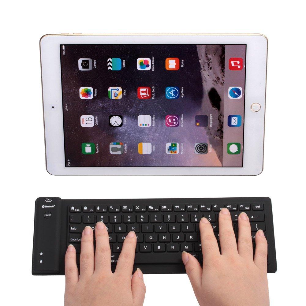 Yuzihan flexible Mini Bluetooth Keyboard For Pad Tablets Phones Portable Silicone Rollup Waterproof Flexible Keyboard Black