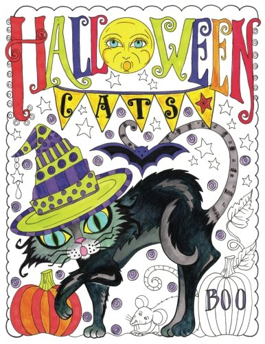 Halloween Cats: Adult Coloring Book -