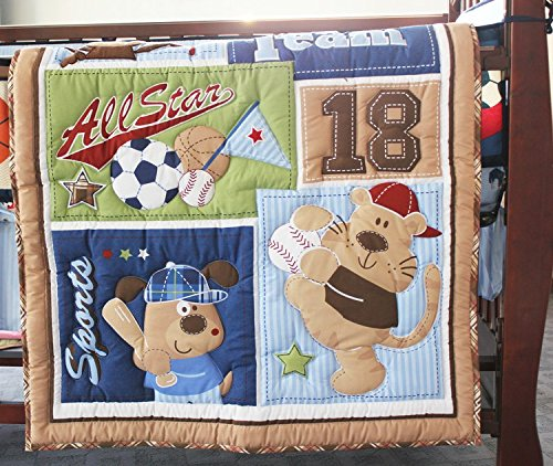 NAUGHTYBOSS Baby Bedding Set Cotton 3D Embroidery Bear Play Baseball Pattern Quilt Bumper Fitted Bed Skirt Urine Bag Blanket 9 Pieces Blue Patchwork by NAUGHTYBOSS