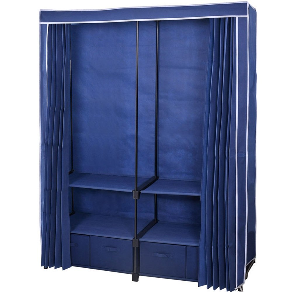 Plus grande armoire - double armoire encastrée - garde-robe adulte - avec quatre tiroirs en tissu ( Couleur : Bleu
