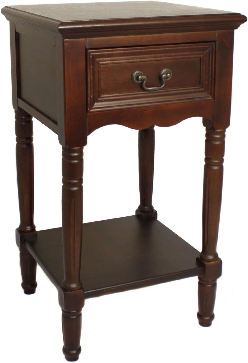 Urban Designs Solid Wood Night Stand Table, Dark Brown
