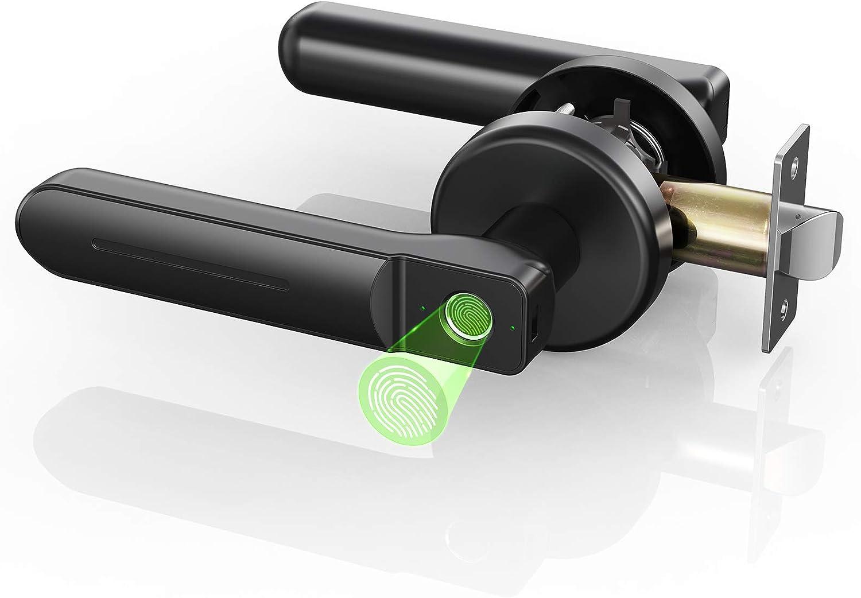 Keyless Entry Fingerprint Door Lock, hornbill Smart Biometric Deadbolt Lock, Safe Handle Lock for Home, Apartment, Office, Bedroom and Private Places.