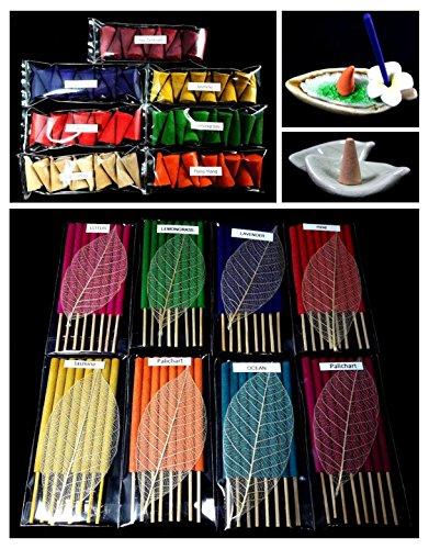 Prima Aroma set 136 pieces 15 scents, 8 packs of 8 Mini size smokeless fragrance incense tube, 7 packs of 10 aroma fragrance Incense cones & 2 handmade ceramic Incense burner holders