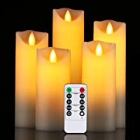 "Flameless Candles Da by 5"" 6"" 7"" 8"" 9""Set of 5 Realistic Dancing LED Flickering Wick for Parties,Home,Public Elegant Events, Battery Powered, 10-Key Remote Control , Ivory Color"