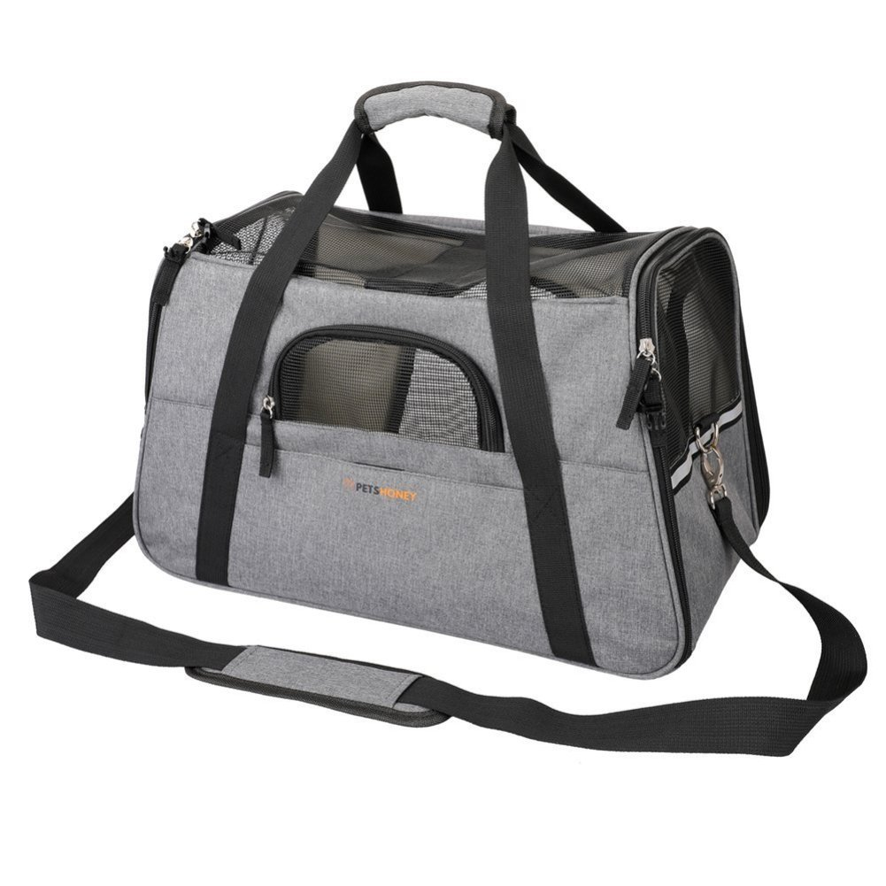 Petshoney Pet Travel Carrier Soft Sided with Pet Mats- Airline Approved Dog Cat Carrier with Convenient Side Pockets New Folding Bar Design to Keep it Shaped Perfect For Small Dogs & Cats