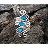Wire wrapped turquoise ring, silver wire ring, gemstone ring, gift ideas for women