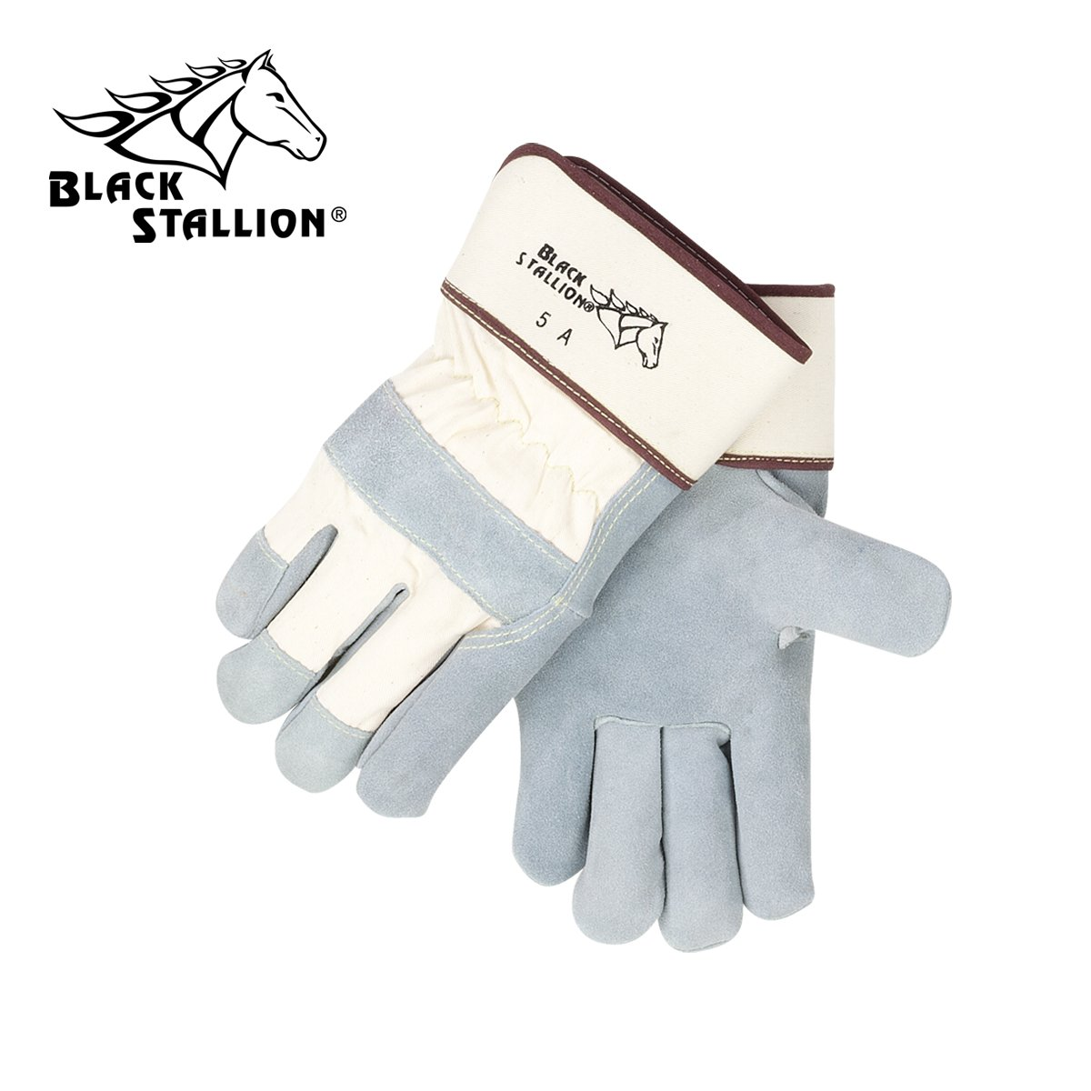 REVCO BLACK STALLION - 5A SIDE SPLIT COWHIDE -- STRAP BACK PREMIUM LEATHER PALM WORK GLOVES - SIZE: LARGE - CASE OF: 60 PAIR