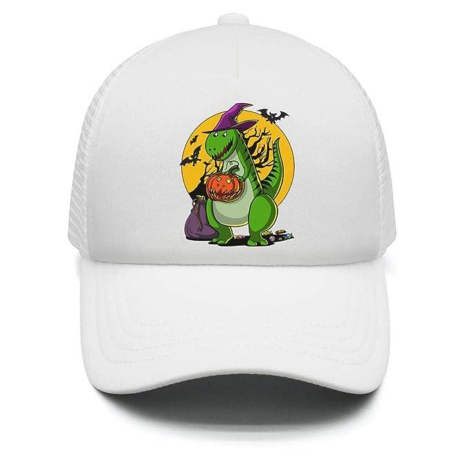 004449d936d Halloween T-Rex Dinosaur Pumpkin Teens Adjustable Baseball Cap for Kids  Airy Mesh Sun Hat