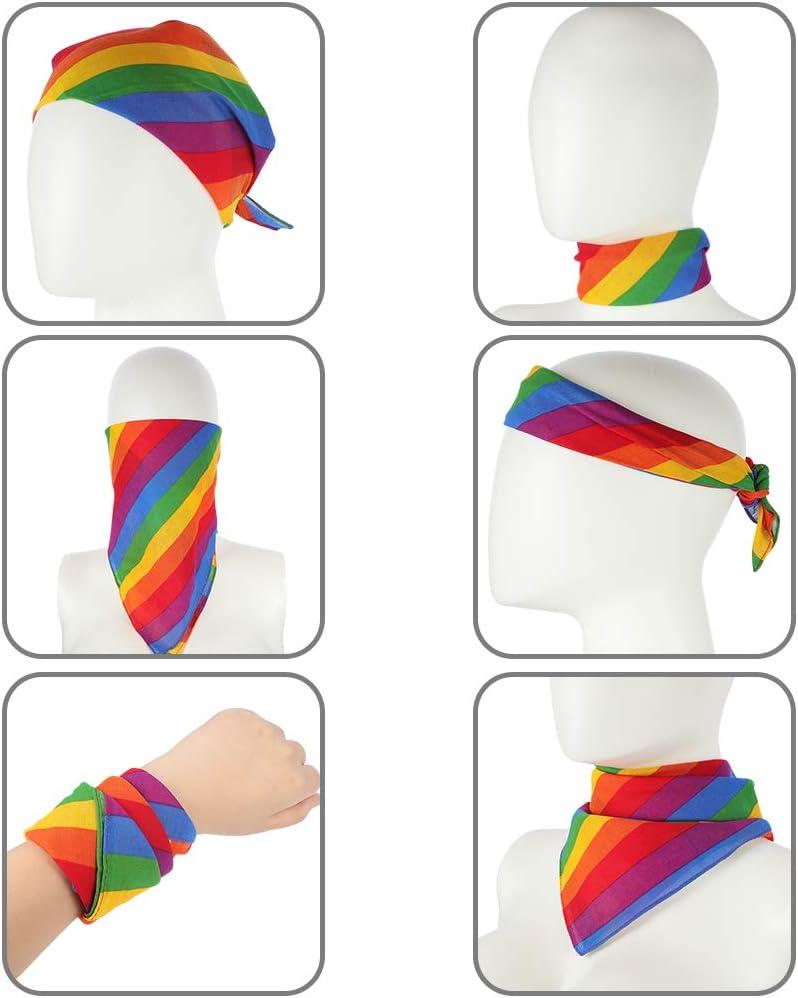 6pcs Auidy/_6TXD Rainbow Bandana Unisex Rainbow Stripe Headband Square Scarf for Party Celebration Supplies or Daily Wear