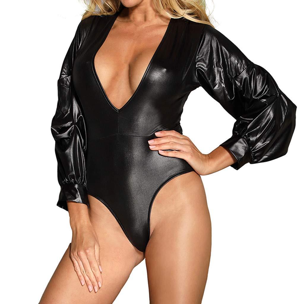 Alalaso Women's Plus SizeLong Sleeve Leather Detail Sexy Bodysuit by Alalaso Sleepwear (Image #3)