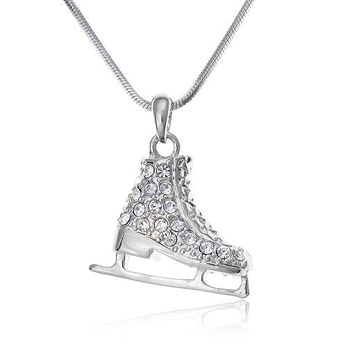 Amazon pammyj silvertone clear crystal ice skate pendant pammyj silvertone clear crystal ice skate pendant necklace 17quot aloadofball Gallery