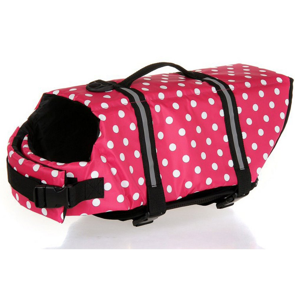 Kuoser Ripstop Dog Life Jacket with Handle Adjustable Reflective Pet Puppy Saver Swimming Water Life Vest Coat Flotation float Aid Buoyancy for Small and Large Dogs (XL, Pink dot)