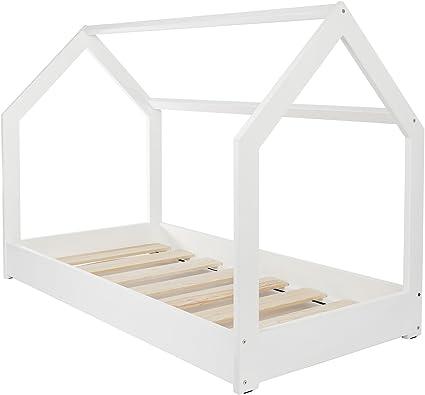 letto casetta legno stile montessori scandinavo bambino 160x80 cassetto sponda colore: bianco