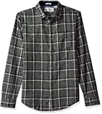 Original Penguin Men's Checkerboard Flannel Dress Shirt, Nightshade, Large
