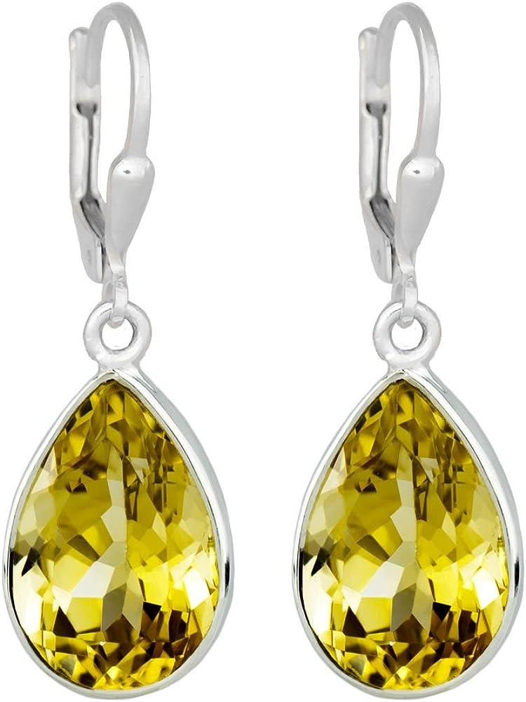 I de Be, citrino facetado 10x 14mm Piedras preciosas Pendientes Gota 925plata, longitud total: 3,3cm, en estuche de regalo, 391524g KB