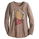 Disney Winnie The Pooh Long Sleeve Thermal Tee for Women Size Ladies 2XL Brown