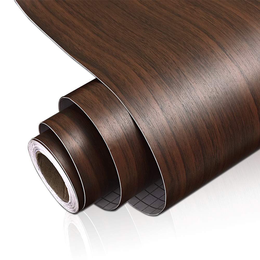 """Yenhome 24"""" x 118"""" Waterproof Black Walnut Wood Grain Contact Paper Decorative Self Adhesive Wallpaper Stick and Peel Vinyl Drawer and Shelf Liner for Kitchen Cabinets Cover Door Sticker"""