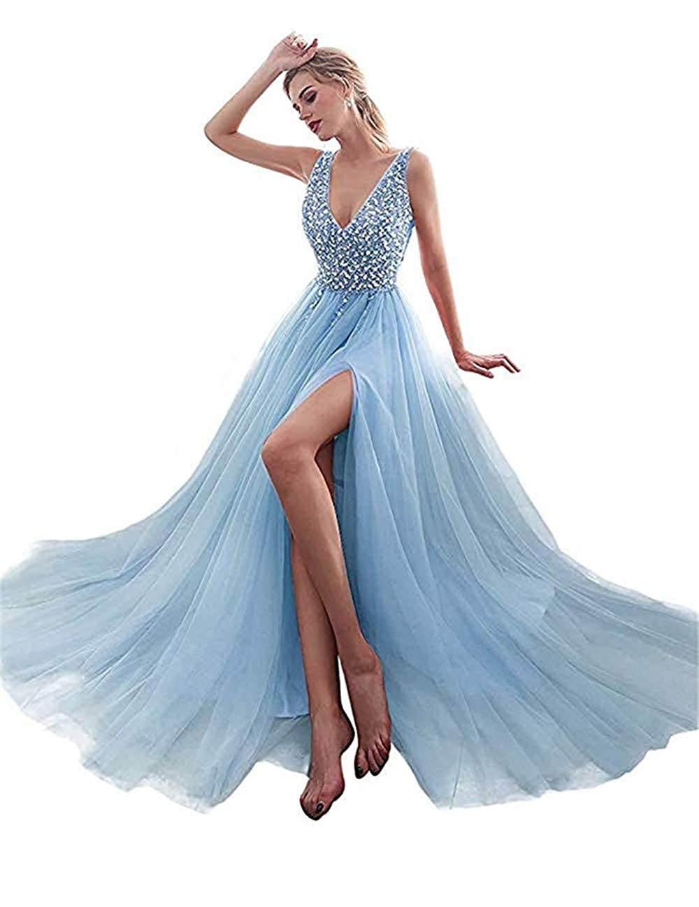 Light bluee Huifany Prom Dresses Sexy V Neck High Split Sequins Beaded Long Formal Evening Gown