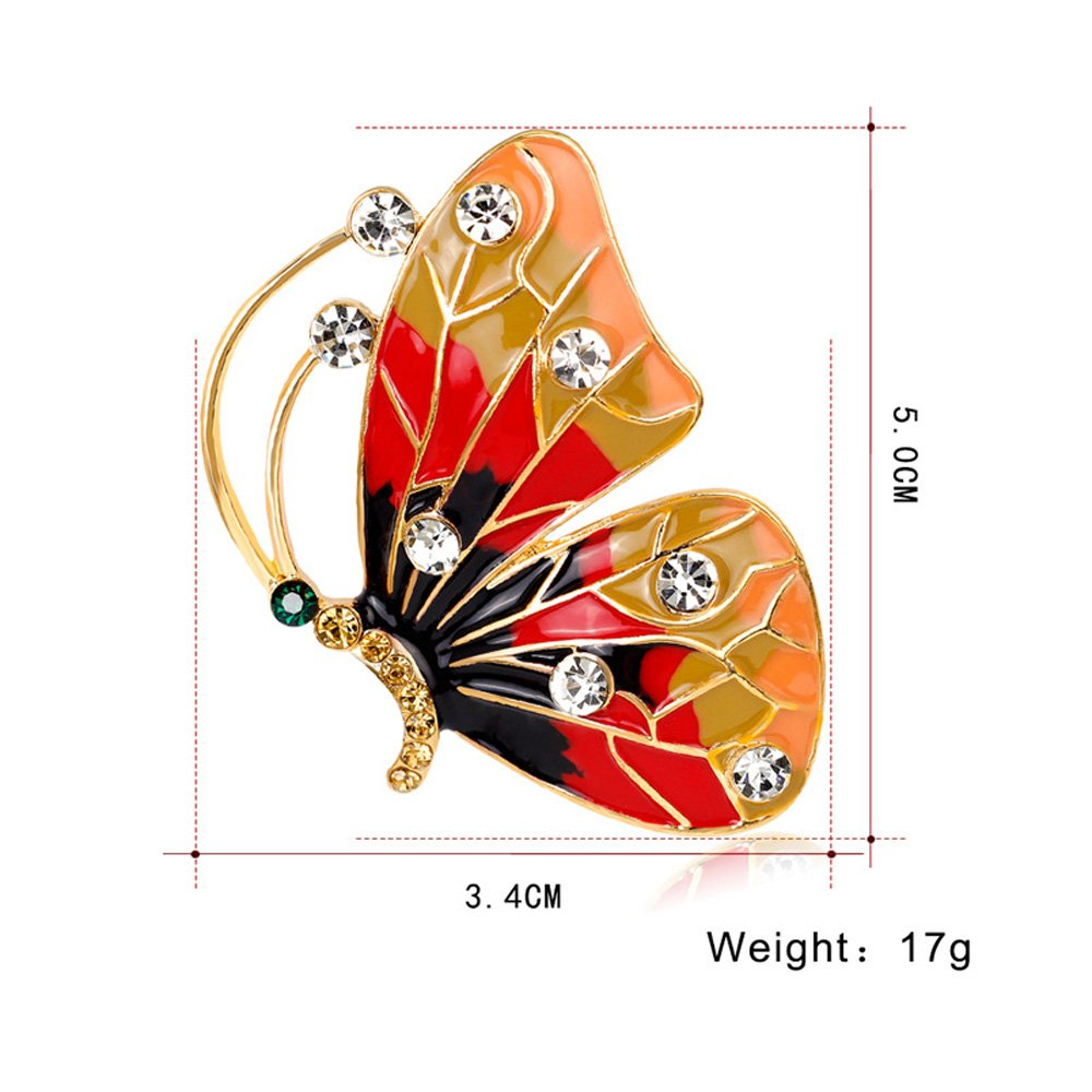 AOCHEE Colorful Butterfly Crystal Rhinestones Enamel Paint Pearls Brooch Lapel Pin Jewelry for Women Girls (2) by AOCHEE (Image #2)
