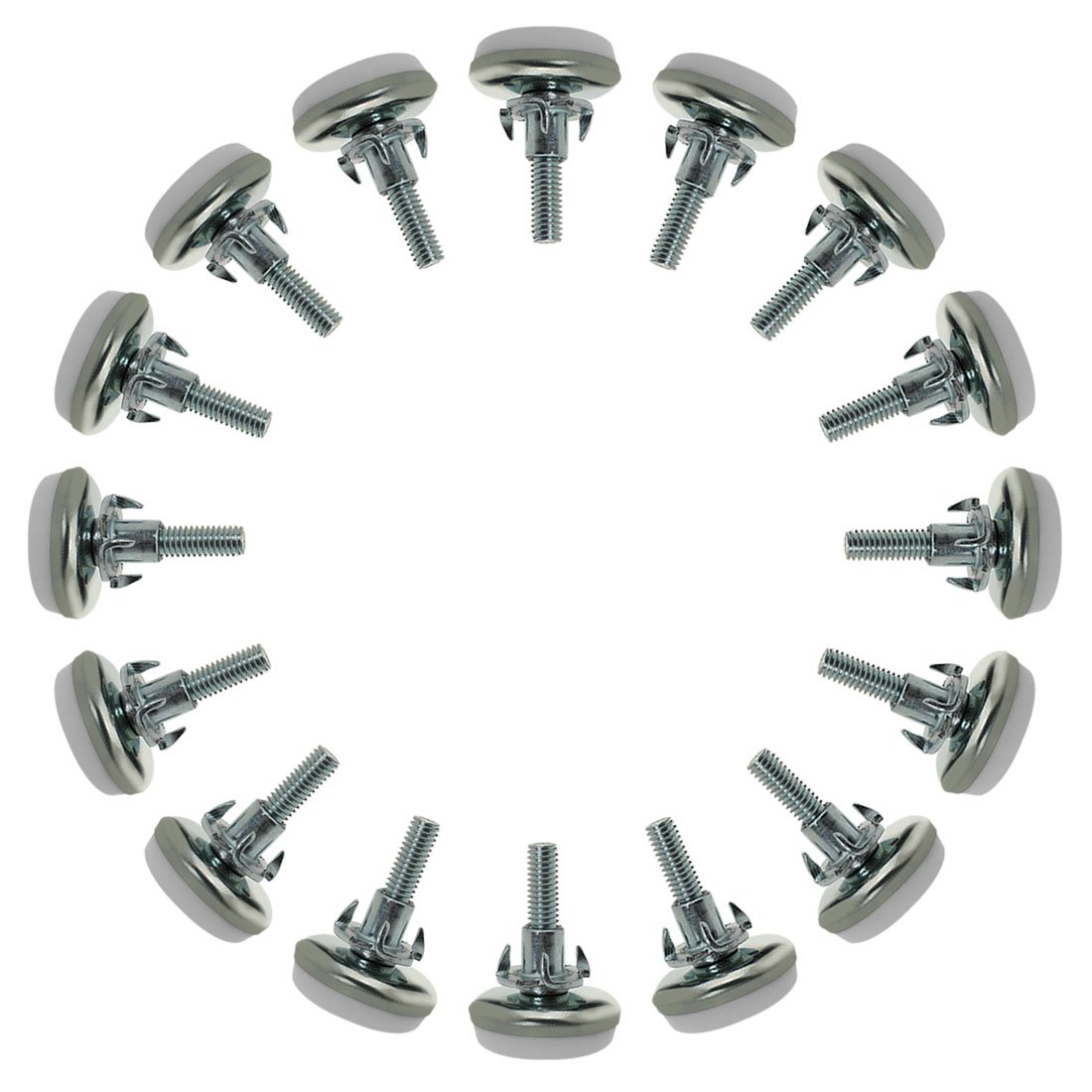 uxcell M6 x 20 x 30mm Screw on Furniture Glide Leveling Feet Adjustable Leveler with T-Nuts for Table Leg 16 Pack