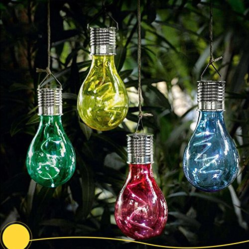 elegantstunning Solar Powered LED Hanging Lamp with Light Sensor Decorative Bulb Lawn Lamp for Outdoor Garden Camping (Warm White Light)(6pcs)