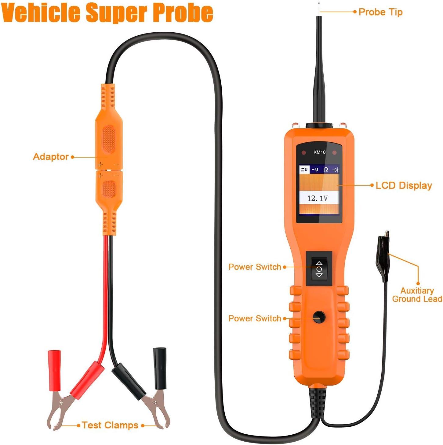KZYEE KM10 Probador de Circuito de Potencia Sonda CA CC Voltaje Diagn/óstico El/éctrico Componente de Prueba Herramienta de Activaci/ón Mult/ímetro para 12-24 V Sistema El/éctrico