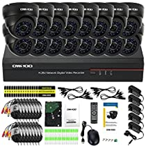 OWSOO 16ch Channel Full CIF 800TVL CCTV Surveillance DVR Security System P2P Cloud Network Digital Video Recorder + 1TB HDD + 16Indoor Camera + 1660ft Cable
