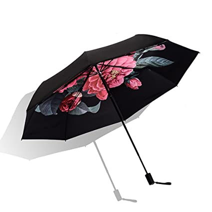ITODA paraguas infantil plegable negro cortavientos anti-UV impermeable antideslizante paraguas hombre mujer sólido y