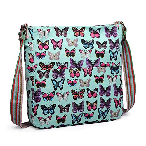 Messenger Canvas leaves Rainbow Cross Butterfly LuLuPolka Green Owl Butterfly Shoulder School Body Ladies Miss Dot Handbags Strap qnvPwA