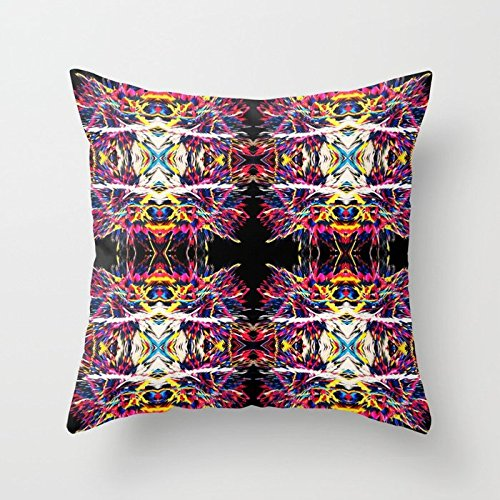 SPXUBZ Abstract Rainbow Clay Comic Strips Pillow Cover Decorative Home Decor Nice Gift Square Indoor/Outdoor Pillowcase Size: 26x26 Inch(Two Sides)