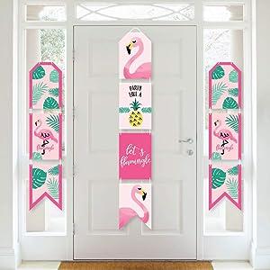 Big Dot of Happiness Pink Flamingo - Party Like a Pineapple - Hanging Vertical Paper Door Banners - Tropical Summer Party Wall Decoration Kit - Indoor Door Decor